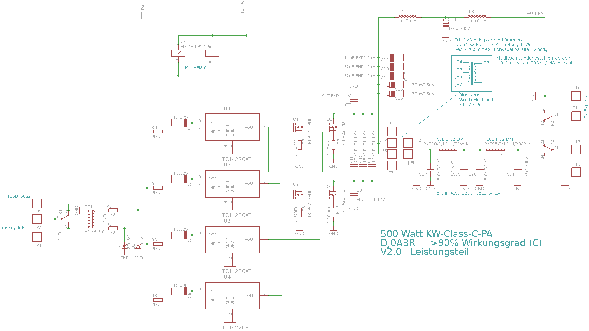 500w 630m pa this signals are first limited by 15v zener diodes and fed into the tc4422 mosfet pooptronica Choice Image